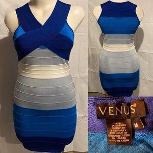 Blue striped Venus bandage bodycon dress